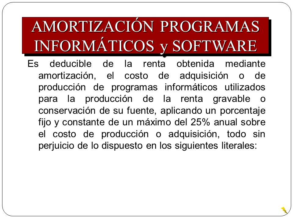 Es deducible de la renta obtenida mediante amortización, el costo de adquisición o de producción de programas informáticos utilizados para la producci