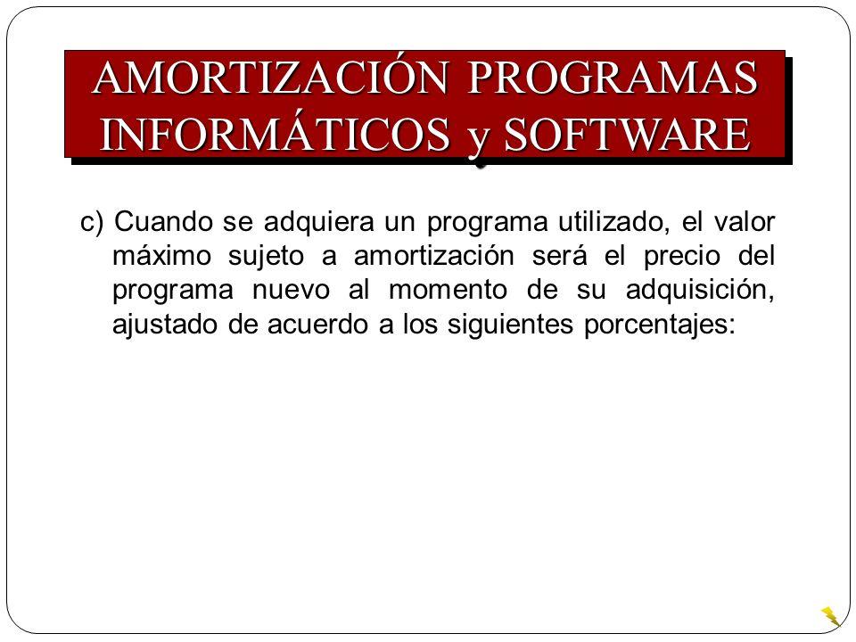 c) Cuando se adquiera un programa utilizado, el valor máximo sujeto a amortización será el precio del programa nuevo al momento de su adquisición, aju