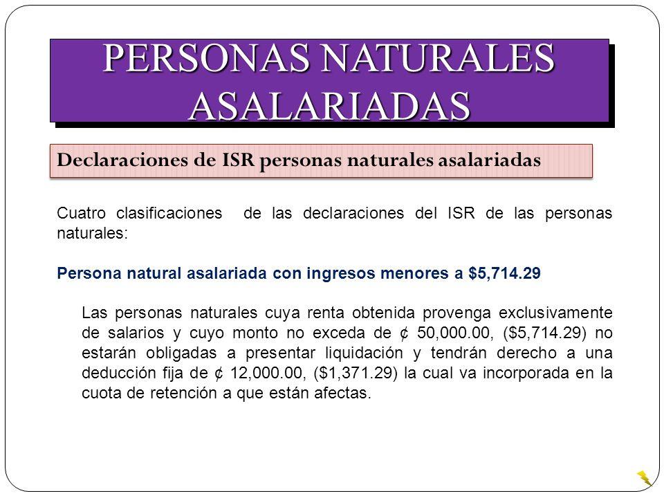 PERSONAS NATURALES ASALARIADAS ASALARIADAS Declaraciones de ISR personas naturales asalariadas Cuatro clasificaciones de las declaraciones del ISR de