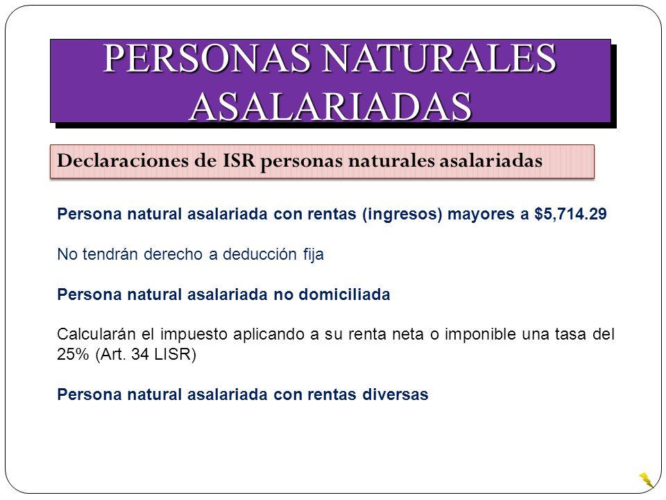 PERSONAS NATURALES ASALARIADAS ASALARIADAS Declaraciones de ISR personas naturales asalariadas Persona natural asalariada con rentas (ingresos) mayore