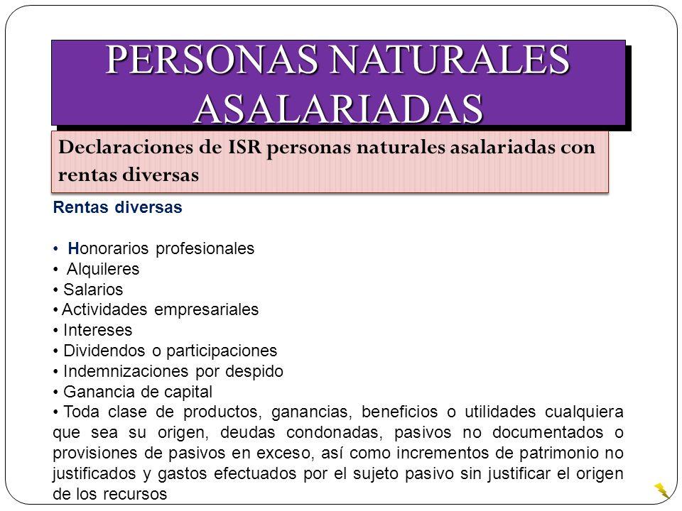 PERSONAS NATURALES ASALARIADAS ASALARIADAS Declaraciones de ISR personas naturales asalariadas con rentas diversas Rentas diversas Honorarios profesio