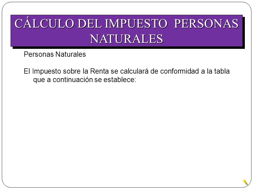 CÁLCULO DEL IMPUESTO PERSONAS NATURALES Personas Naturales El Impuesto sobre la Renta se calculará de conformidad a la tabla que a continuación se est