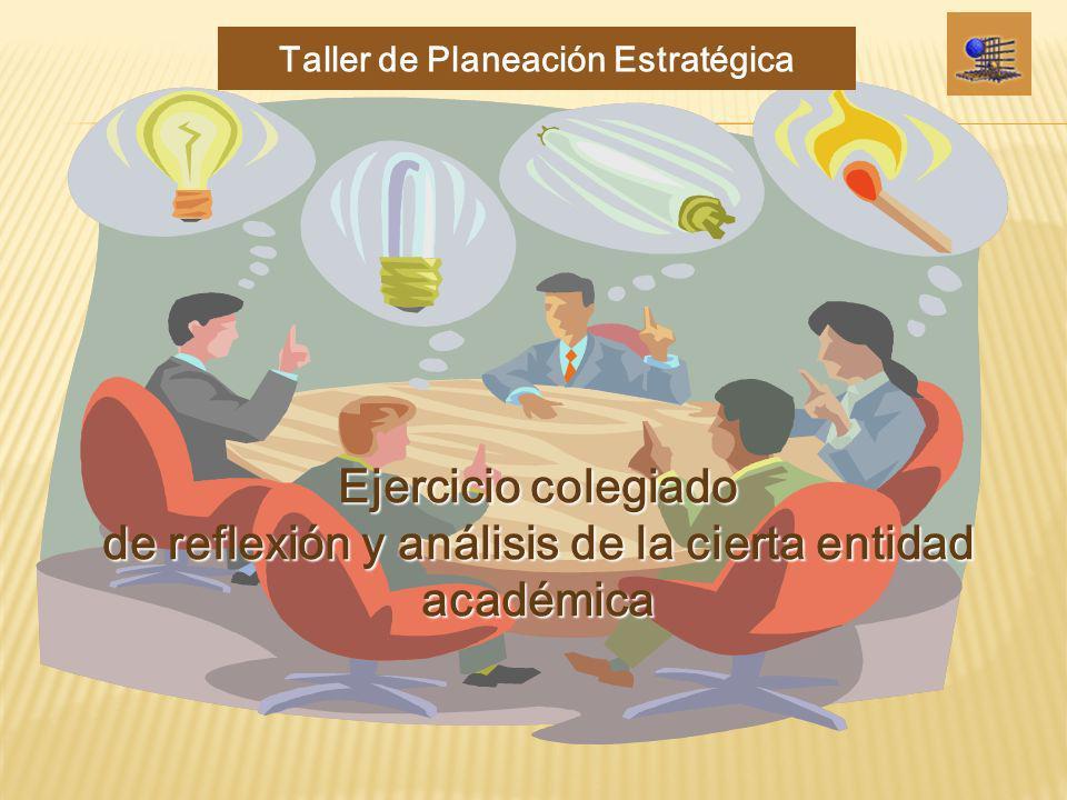 Ejercicio colegiado de reflexión y análisis de la cierta entidad académica Taller de Planeación Estratégica