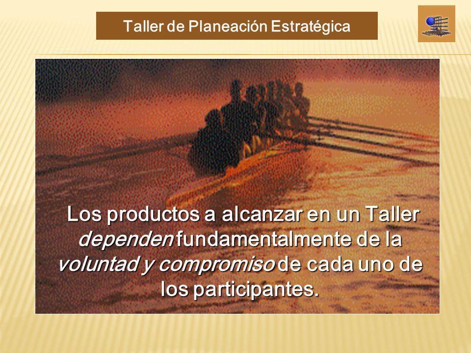 Los productos a alcanzar en un Taller dependen fundamentalmente de la voluntad y compromiso de cada uno de los participantes. Los productos a alcanzar