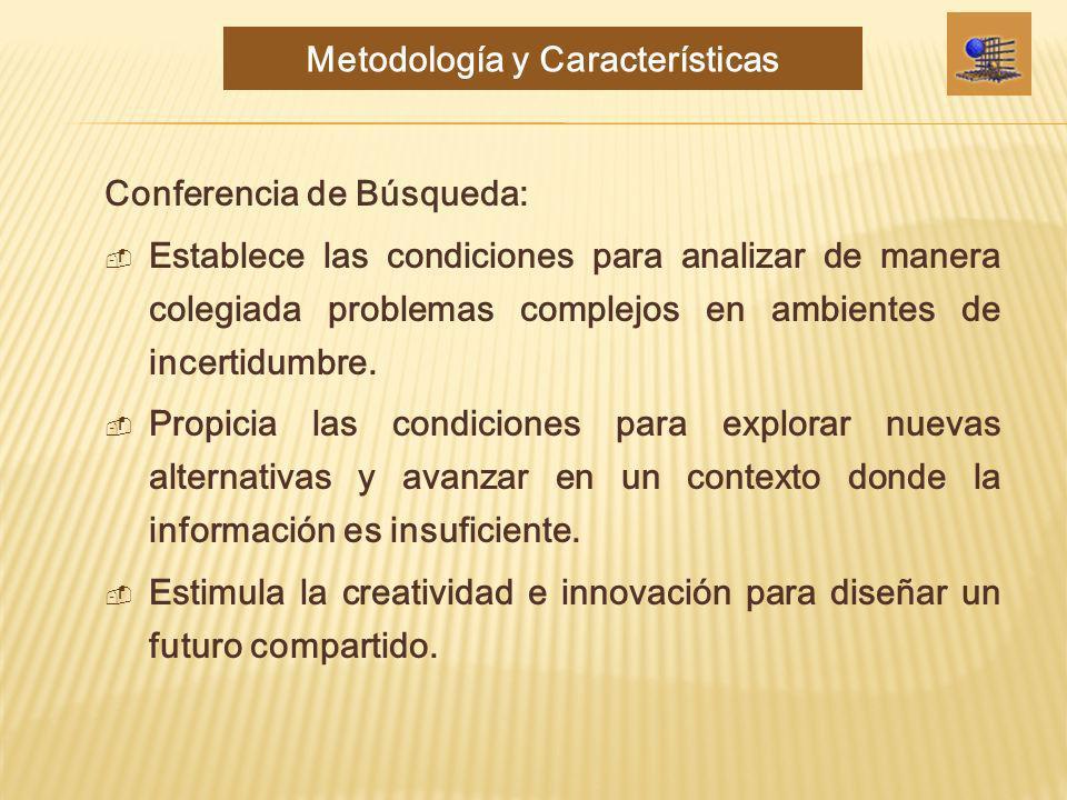 Conferencia de Búsqueda: Establece las condiciones para analizar de manera colegiada problemas complejos en ambientes de incertidumbre. Propicia las c