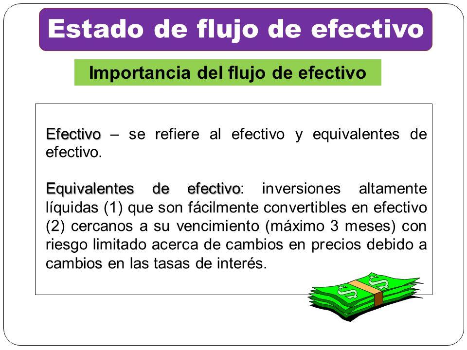 Estado de flujo de efectivo Importancia del flujo de efectivo Efectivo Efectivo – se refiere al efectivo y equivalentes de efectivo. Equivalentes de e