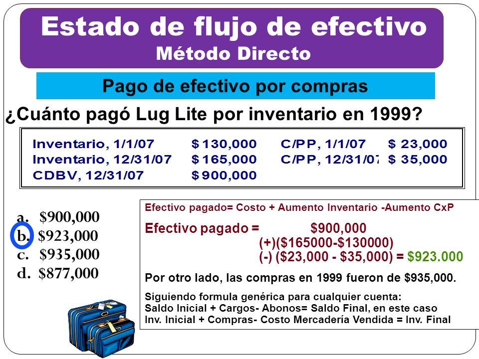 a. $900,000 b. $923,000 c. $935,000 d. $877,000 Efectivo pagado= Costo + Aumento Inventario -Aumento CxP Efectivo pagado = $900,000 (+)($165000-$13000