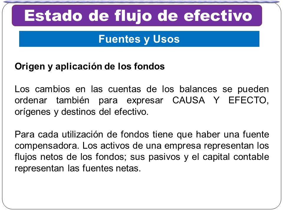 Origen y aplicación de los fondos Los cambios en las cuentas de los balances se pueden ordenar también para expresar CAUSA Y EFECTO, orígenes y destin