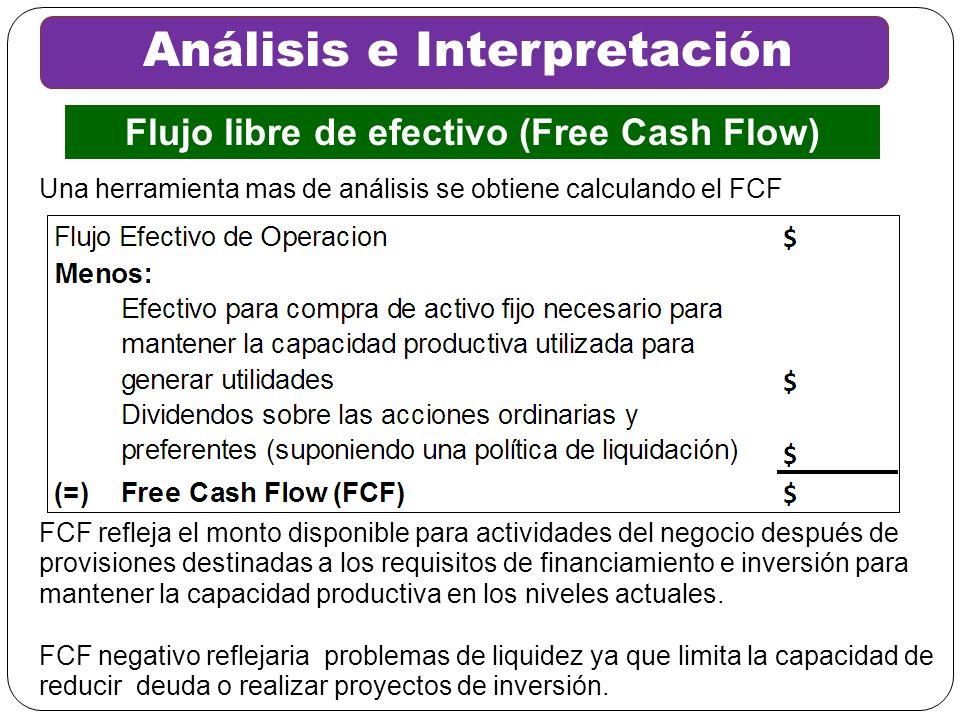 Análisis e Interpretación Flujo libre de efectivo (Free Cash Flow) FCF refleja el monto disponible para actividades del negocio después de provisiones
