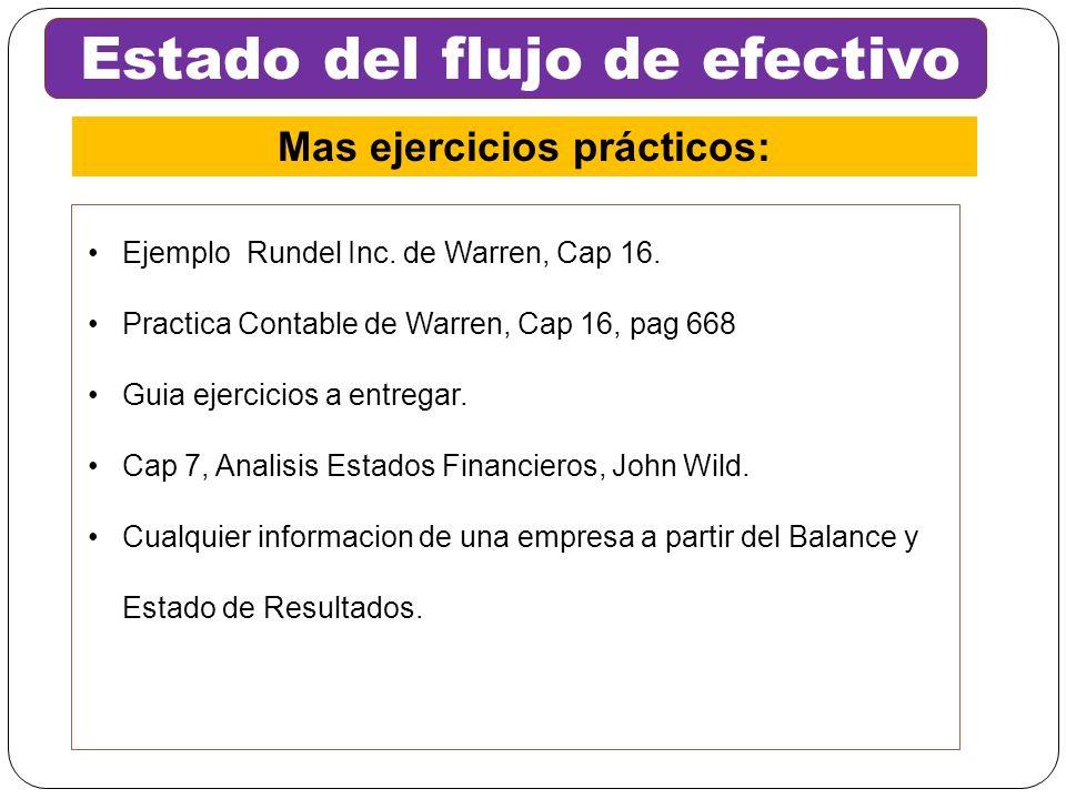 Ejemplo Rundel Inc. de Warren, Cap 16. Practica Contable de Warren, Cap 16, pag 668 Guia ejercicios a entregar. Cap 7, Analisis Estados Financieros, J
