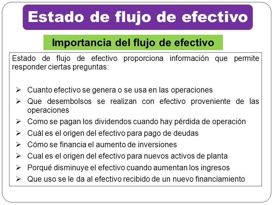 Estado de flujo de efectivo proporciona información que permite responder ciertas preguntas: Cuanto efectivo se genera o se usa en las operaciones Que