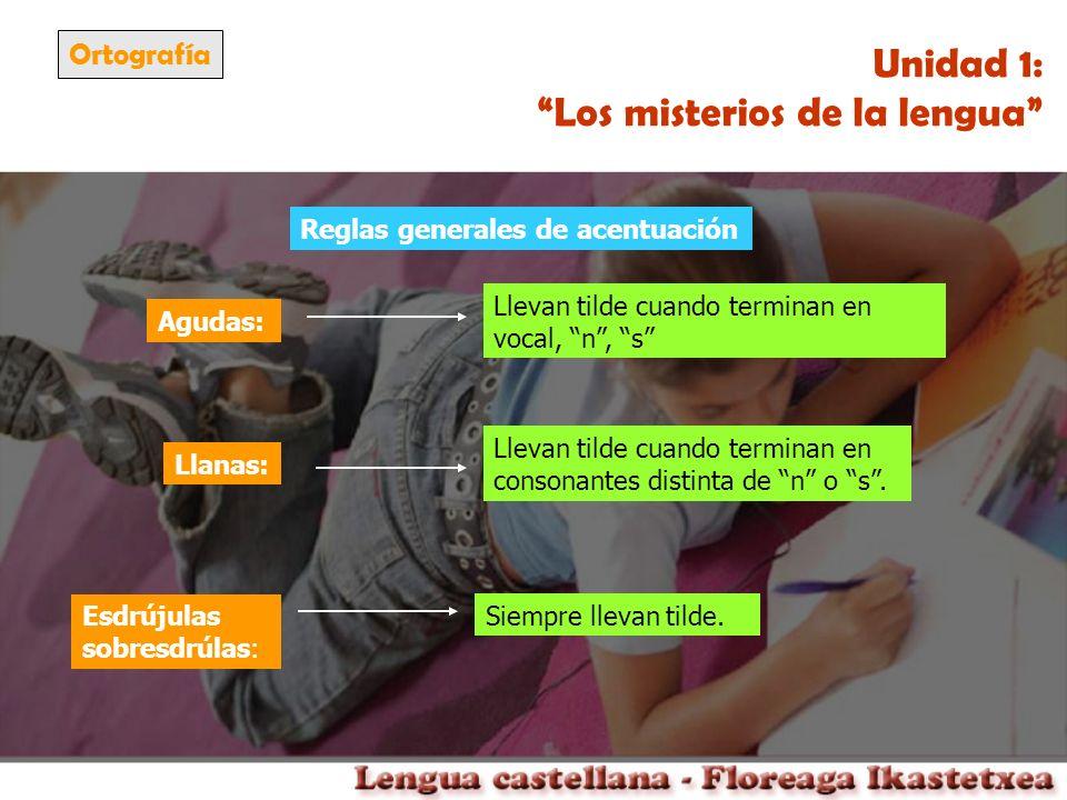 Ortografía Unidad 1: Los misterios de la lengua Agudas: Llevan tilde cuando terminan en vocal, n, s Llanas: Esdrújulas sobresdrúlas: Llevan tilde cuan