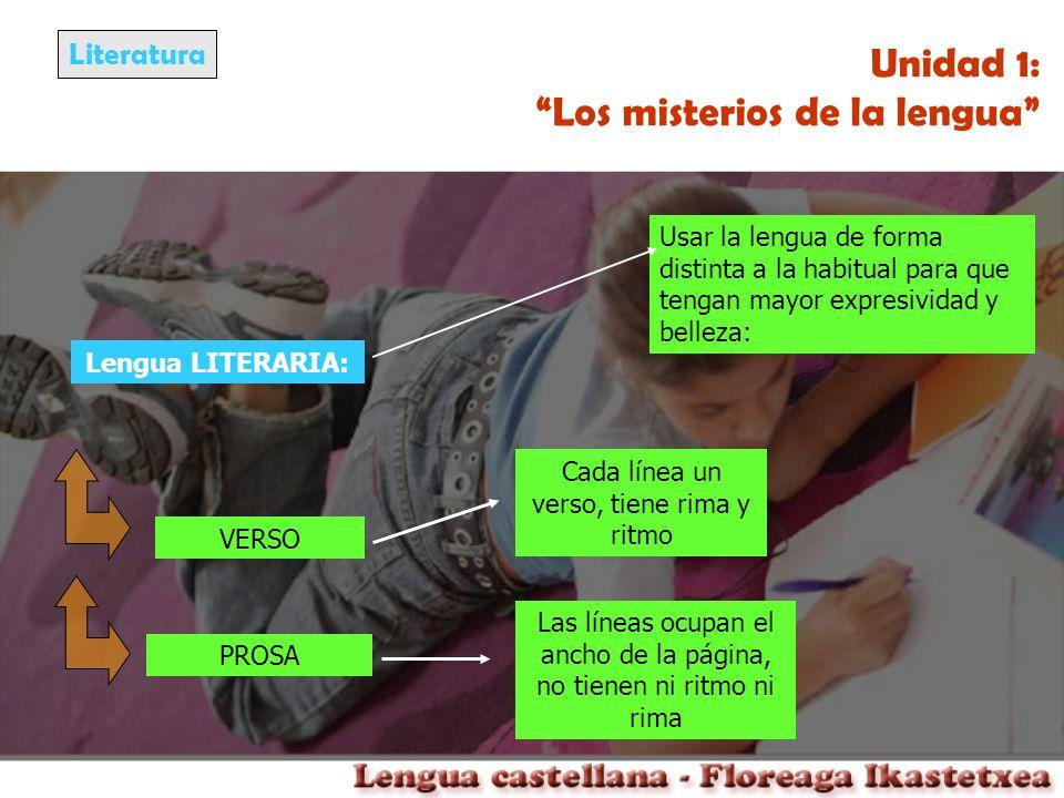 Literatura Unidad 1: Los misterios de la lengua Lengua LITERARIA: Usar la lengua de forma distinta a la habitual para que tengan mayor expresividad y