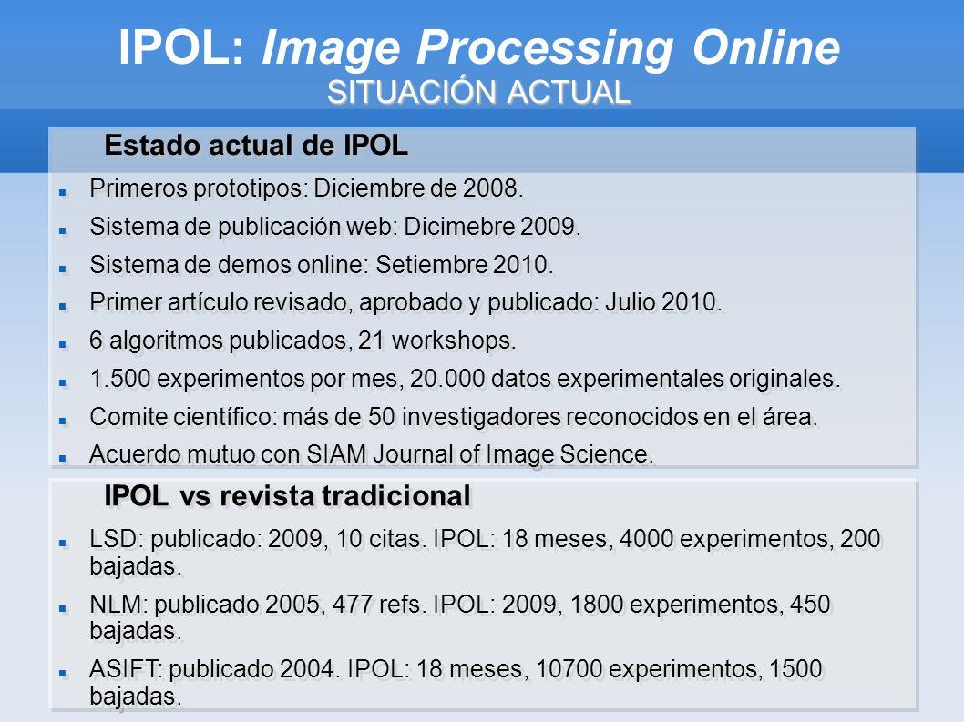 SITUACIÓN ACTUAL IPOL: Image Processing Online SITUACIÓN ACTUAL Estado actual de IPOL Primeros prototipos: Diciembre de 2008.