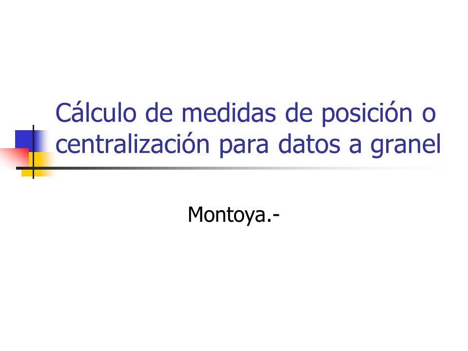 Cálculo de medidas de posición o centralización para datos a granel Montoya.-