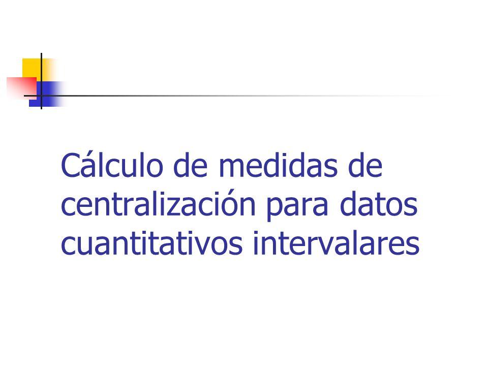 Cálculo de medidas de centralización para datos cuantitativos intervalares