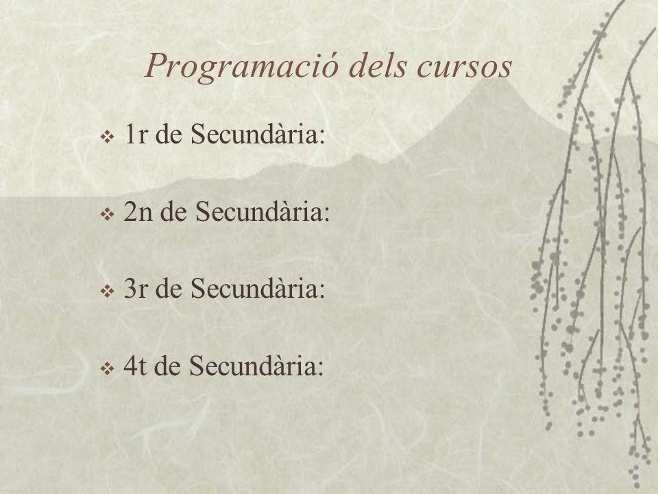 Programació dels cursos 1r de Secundària: 2n de Secundària: 3r de Secundària: 4t de Secundària: