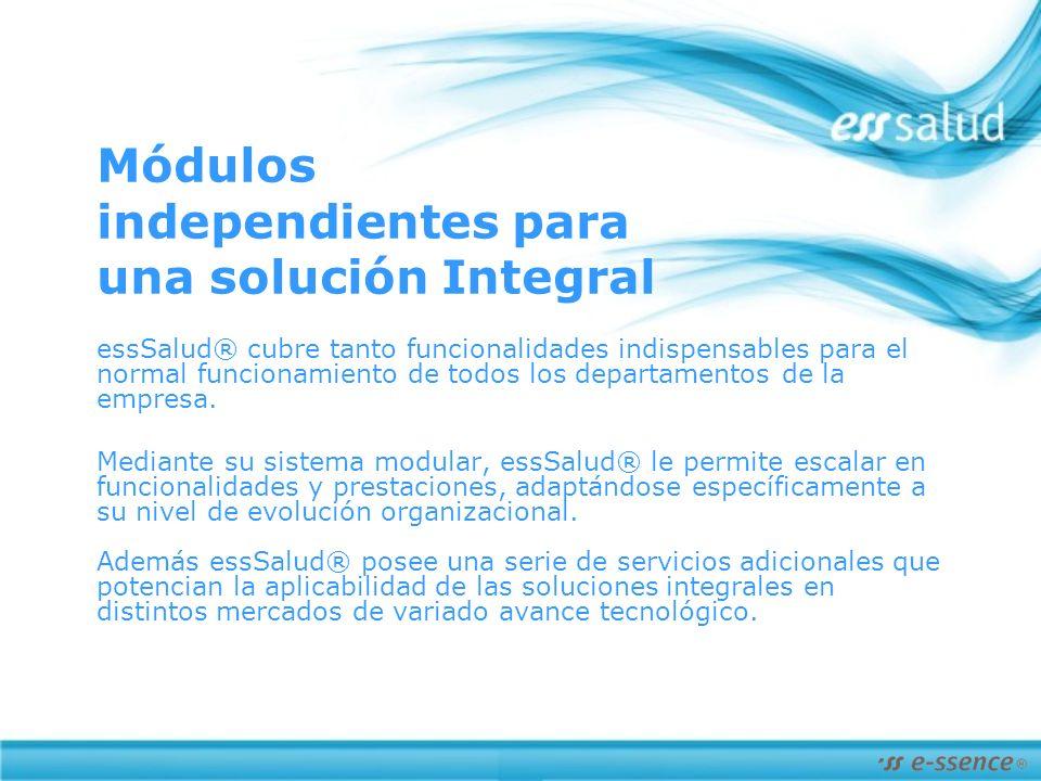 Módulos independientes para una solución Integral essSalud® cubre tanto funcionalidades indispensables para el normal funcionamiento de todos los departamentos de la empresa.