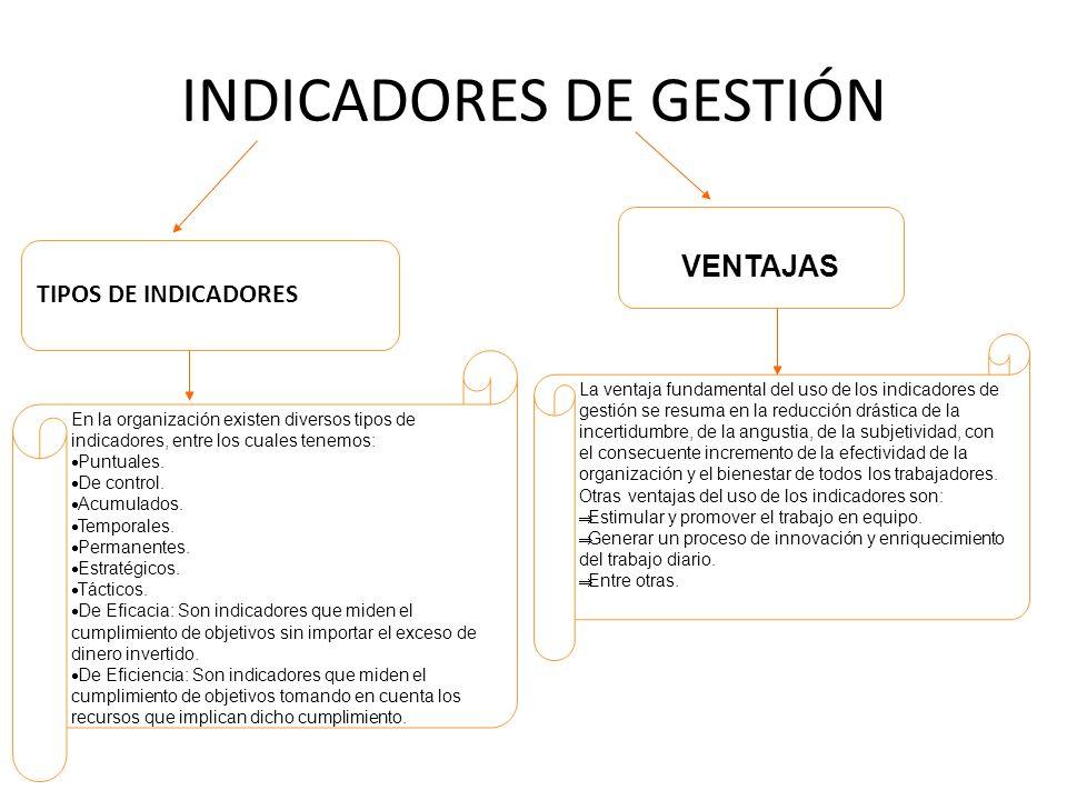 INDICADORES DE GESTIÓN TIPOS DE INDICADORES En la organización existen diversos tipos de indicadores, entre los cuales tenemos: Puntuales. De control.