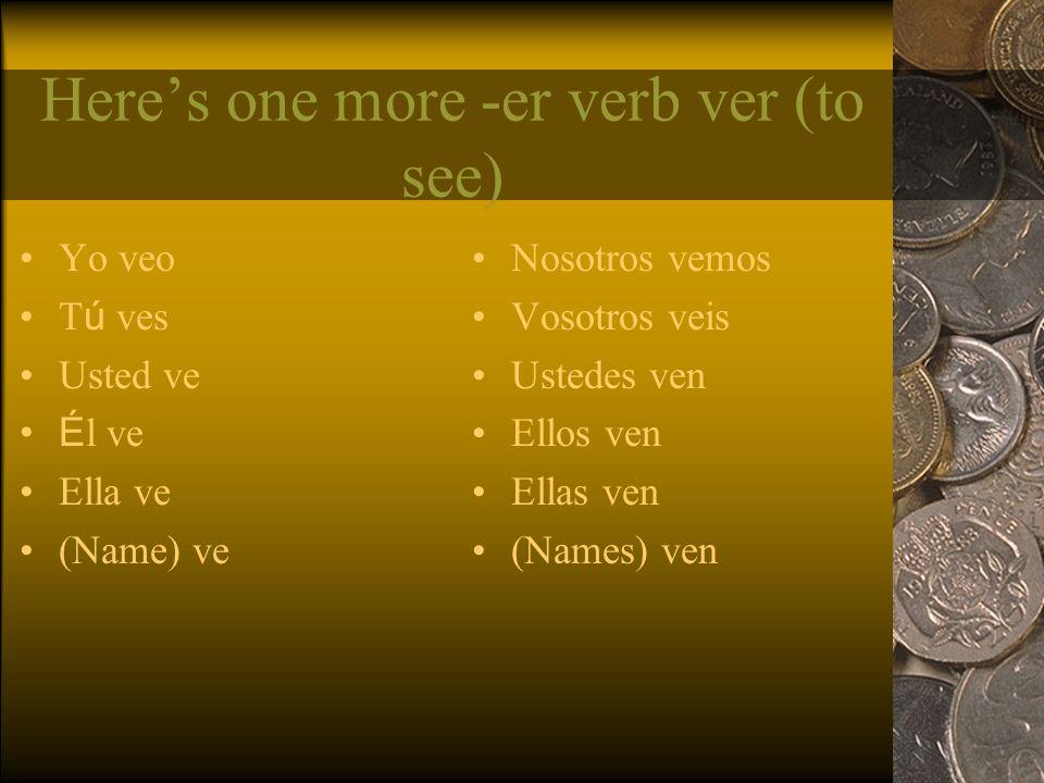 Heres one more -er verb ver (to see) Yo veo T ú ves Usted ve É l ve Ella ve (Name) ve Nosotros vemos Vosotros veis Ustedes ven Ellos ven Ellas ven (Names) ven