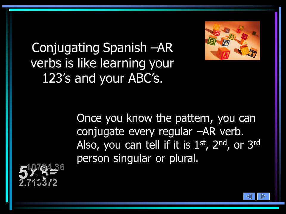 add your subject pronouns cocinar – ar = cocin o as a amos áis an yo tú Ud. él ella nosotros/as vosotros/as Uds. ellos ellas