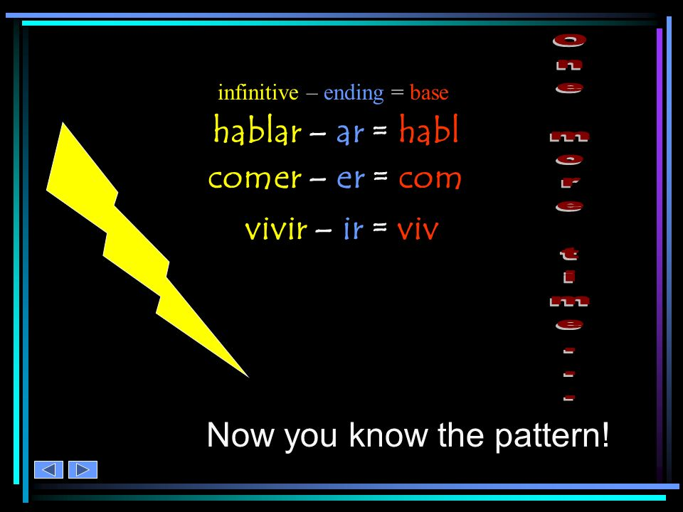The pattern is: hablar infinitive - ending = base comer infinitive - ending = base vivir infinitive - ending = base infinitive – ending = base