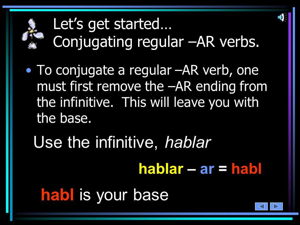 Lets get started… Conjugating regular –AR verbs.