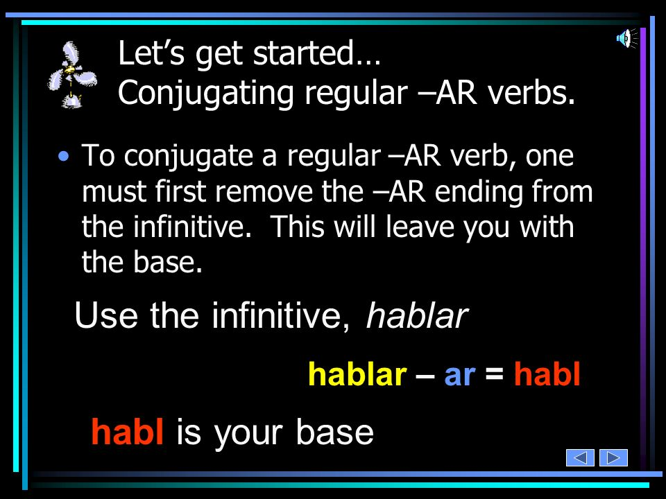 infinitive – ending = base As with regular –AR verbs, regular Spanish –ER and –IR verbs have a pattern.