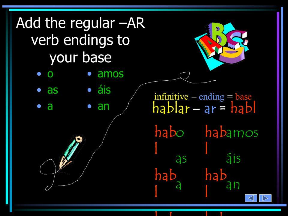 Add the regular –AR verb endings to your base o as a amos áis an hablar – ar = habl infinitive – ending = base hab l o as a amos áis an