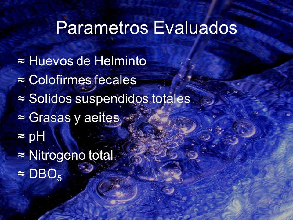 Parametros Evaluados Huevos de Helminto Colofirmes fecales Solidos suspendidos totales Grasas y aeites pH Nitrogeno total DBO 5