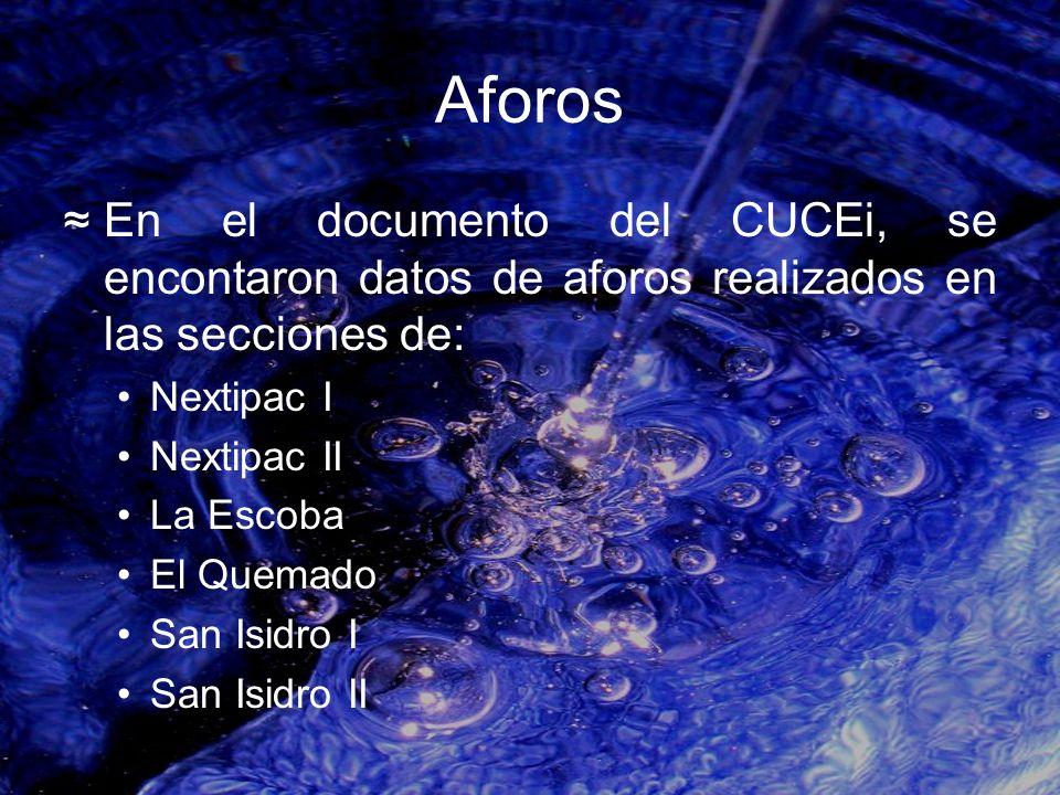 Aforos En el documento del CUCEi, se encontaron datos de aforos realizados en las secciones de: Nextipac I Nextipac II La Escoba El Quemado San Isidro