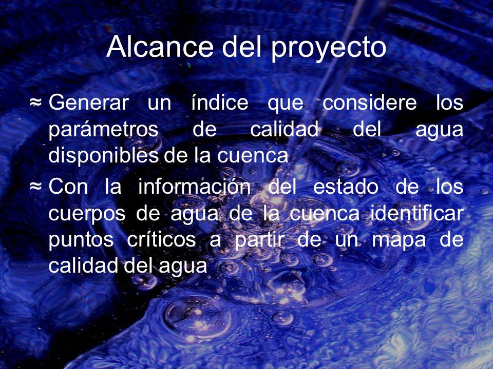 Alcance del proyecto Generar un índice que considere los parámetros de calidad del agua disponibles de la cuenca Con la información del estado de los