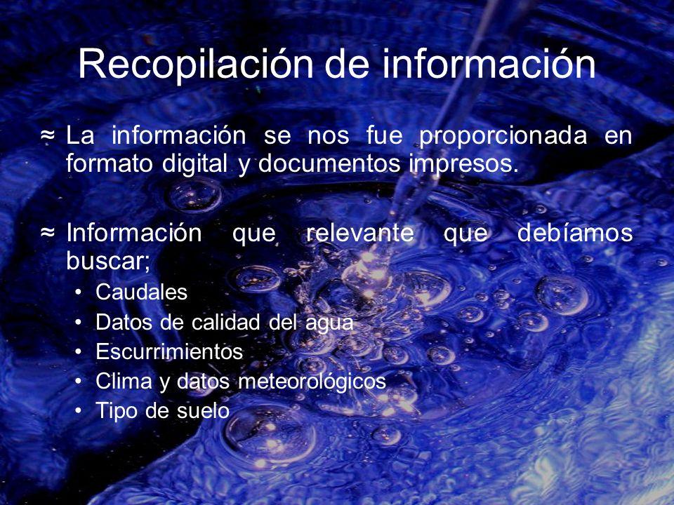 Recopilación de información La información se nos fue proporcionada en formato digital y documentos impresos. Información que relevante que debíamos b