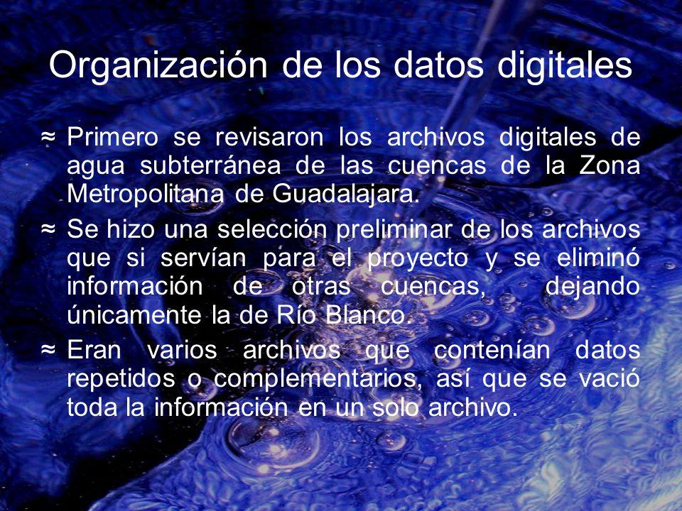 Organización de los datos digitales Primero se revisaron los archivos digitales de agua subterránea de las cuencas de la Zona Metropolitana de Guadala