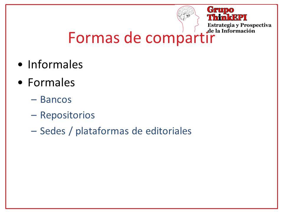 Formas de compartir Informales Formales –Bancos –Repositorios –Sedes / plataformas de editoriales
