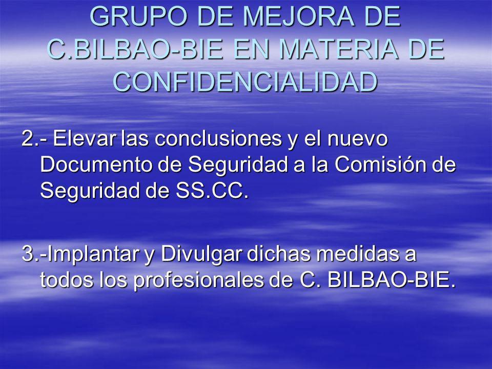 GRUPO DE MEJORA DE C.BILBAO-BIE EN MATERIA DE CONFIDENCIALIDAD 2.- Elevar las conclusiones y el nuevo Documento de Seguridad a la Comisión de Segurida