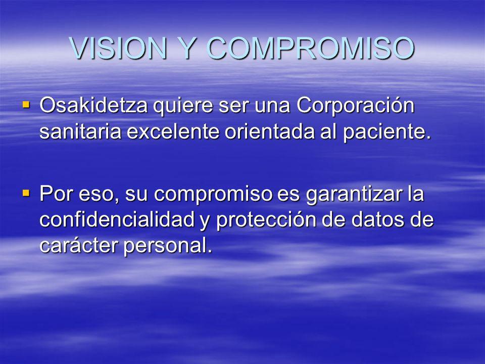 VISION Y COMPROMISO Osakidetza quiere ser una Corporación sanitaria excelente orientada al paciente. Osakidetza quiere ser una Corporación sanitaria e