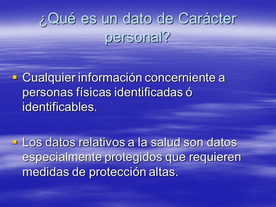 ¿Qué es un dato de Carácter personal? Cualquier información concerniente a personas físicas identificadas ó identificables. Cualquier información conc