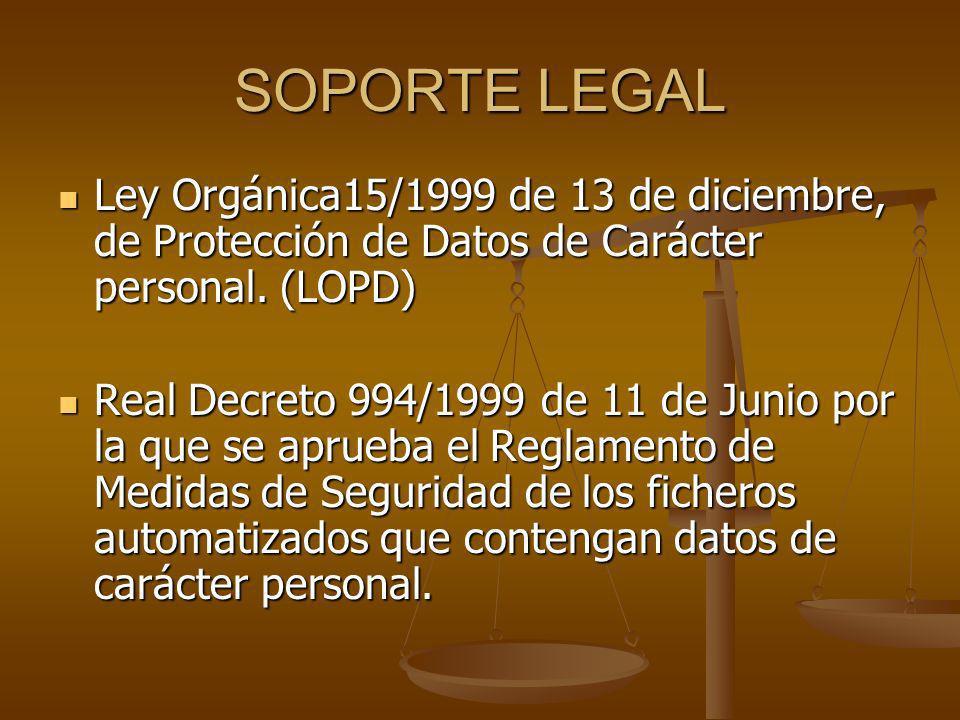 SOPORTE LEGAL Ley Orgánica15/1999 de 13 de diciembre, de Protección de Datos de Carácter personal. (LOPD) Ley Orgánica15/1999 de 13 de diciembre, de P