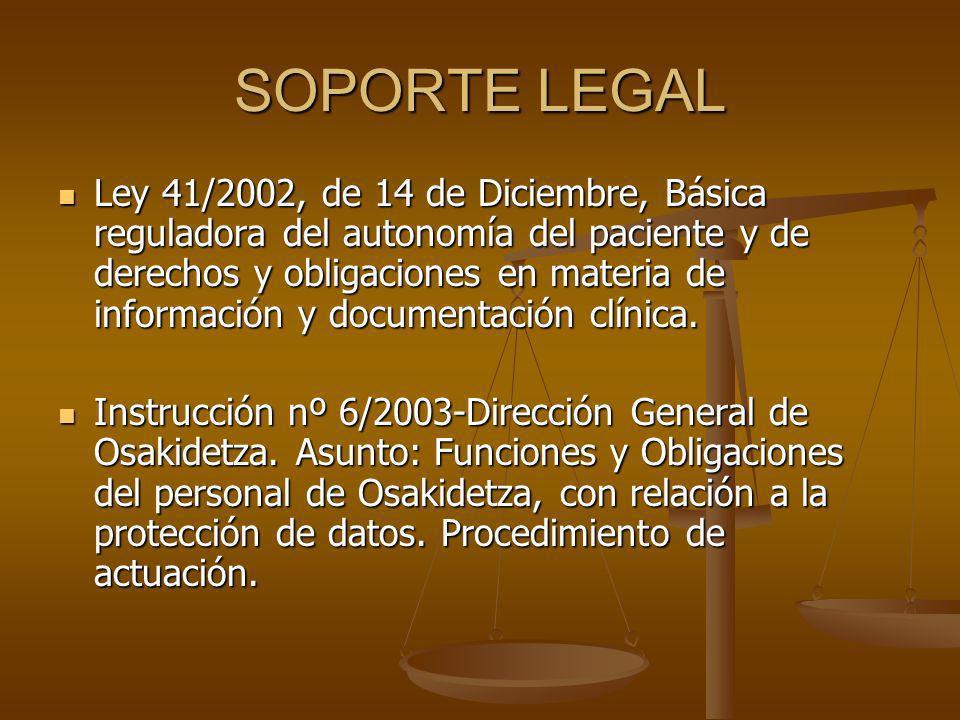 SOPORTE LEGAL Ley 41/2002, de 14 de Diciembre, Básica reguladora del autonomía del paciente y de derechos y obligaciones en materia de información y d