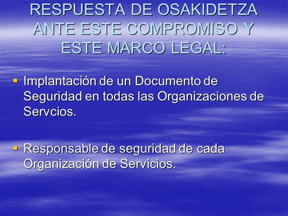RESPUESTA DE OSAKIDETZA ANTE ESTE COMPROMISO Y ESTE MARCO LEGAL: Implantación de un Documento de Seguridad en todas las Organizaciones de Servcios. Im