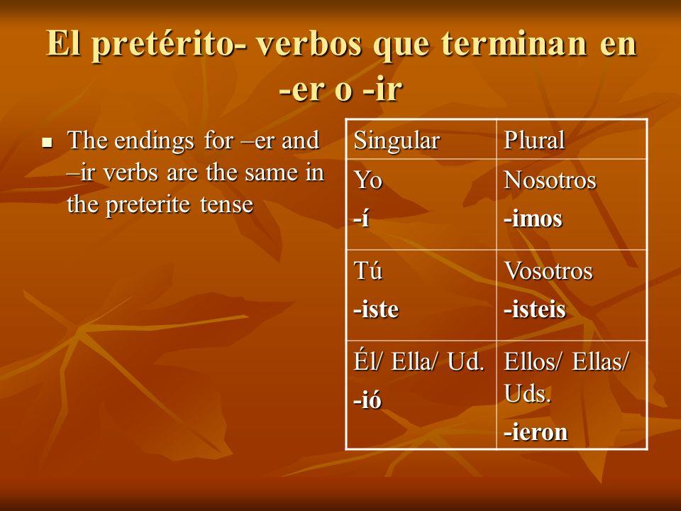 El pretérito- verbos que terminan en -er o -ir Just like with –ar verbs, the nosotros form is the same as the present tense.