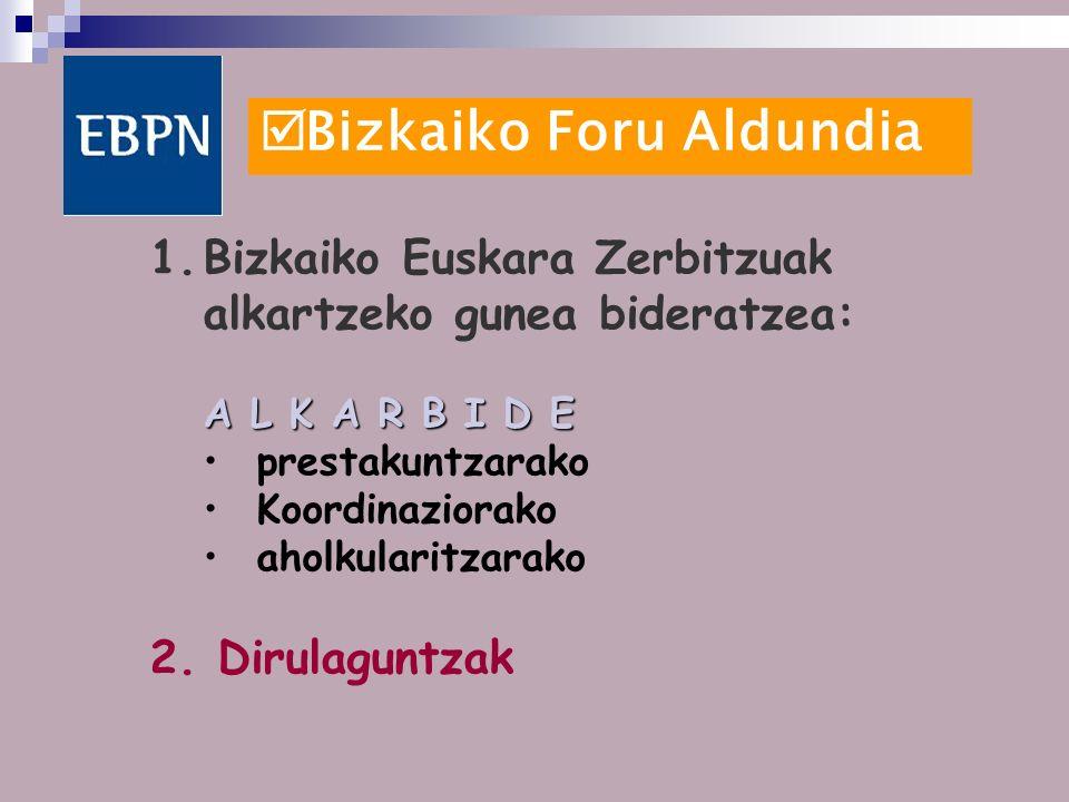 Bizkaiko Foru Aldundia 1.Bizkaiko Euskara Zerbitzuak alkartzeko gunea bideratzea: A L K A R B I D E prestakuntzarako Koordinaziorako aholkularitzarako 2.