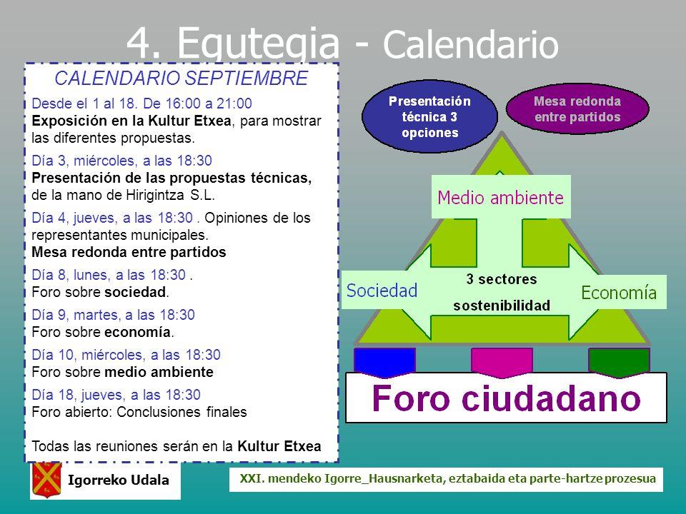 XXI. mendeko Igorre_Hausnarketa, eztabaida eta parte-hartze prozesua Igorreko Udala 4. Egutegia - Calendario CALENDARIO SEPTIEMBRE Desde el 1 al 18. D