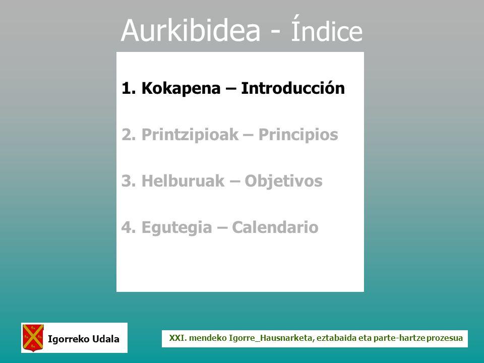 XXI. mendeko Igorre_Hausnarketa, eztabaida eta parte-hartze prozesua Igorreko Udala Aurkibidea - Índice 1. Kokapena – Introducción 2. Printzipioak – P