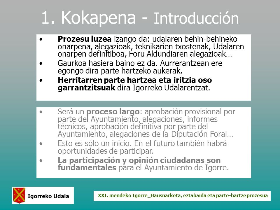 XXI. mendeko Igorre_Hausnarketa, eztabaida eta parte-hartze prozesua Igorreko Udala 1. Kokapena - Introducción Prozesu luzea izango da: udalaren behin