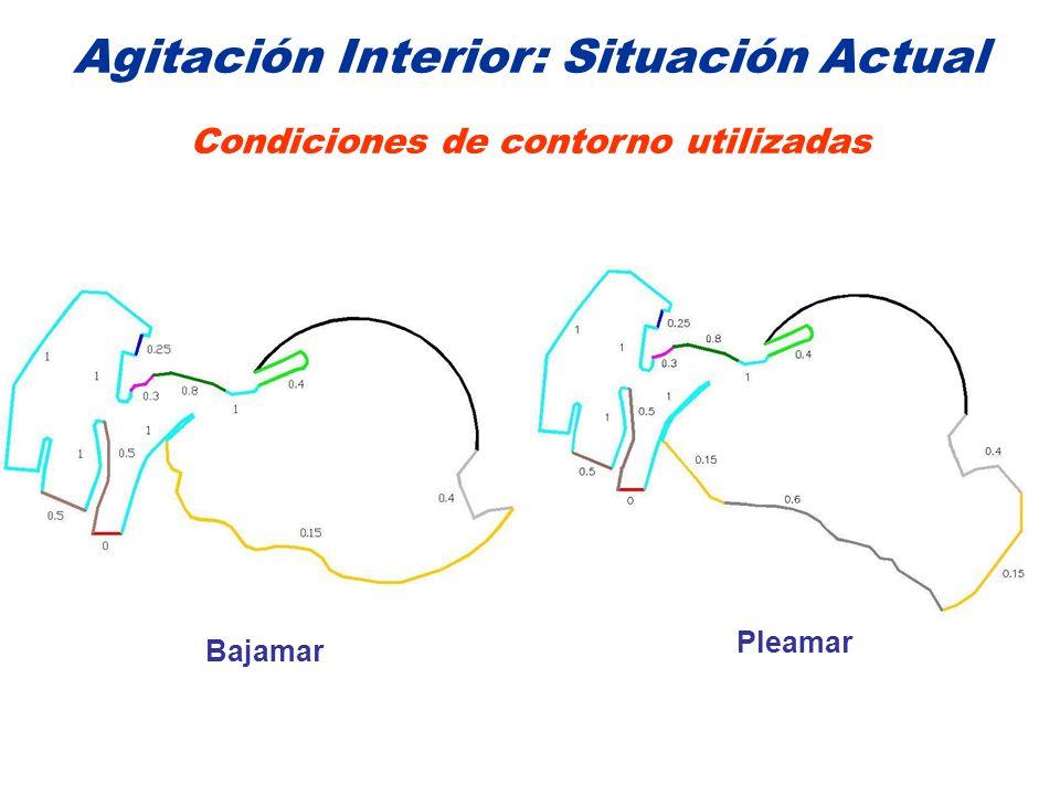 Agitación Interior: Situación Actual Condiciones de contorno utilizadas Bajamar Pleamar