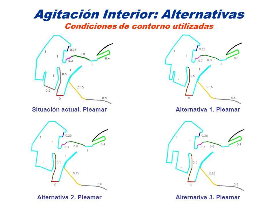 Agitación Interior: Alternativas Condiciones de contorno utilizadas Situación actual. PleamarAlternativa 1. Pleamar Alternativa 3. PleamarAlternativa