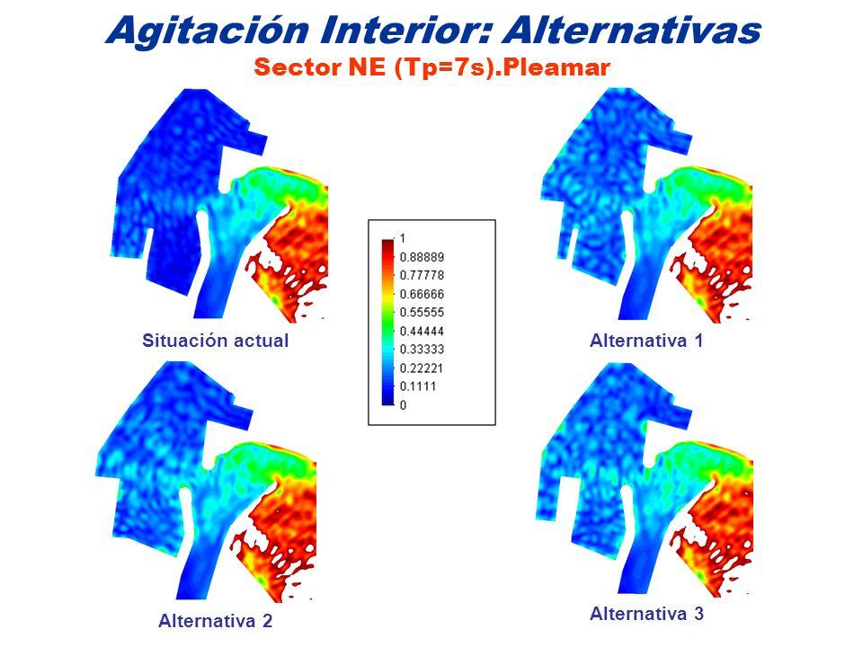 Agitación Interior: Alternativas Sector NE (Tp=7s).Pleamar Situación actualAlternativa 1 Alternativa 3 Alternativa 2