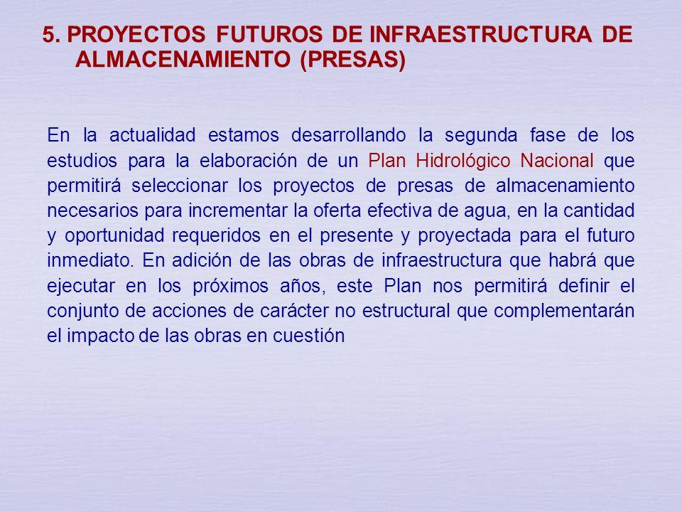 5. PROYECTOS DE INFRAESTRUCTURA DE ALMACENAMIENTO (PRESAS) EN ESTUDIO